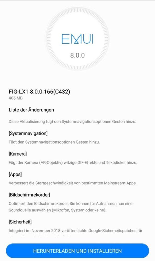 Huawei P Smart Firmwareupdate 166