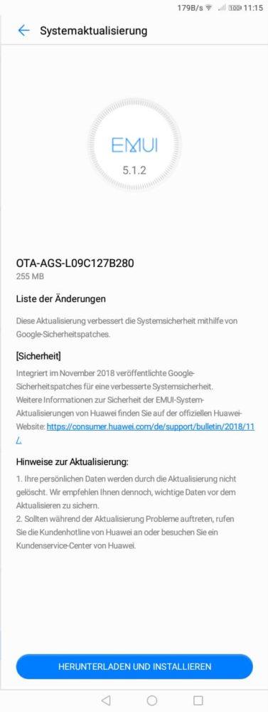 Mate 20 Lite, MediaPad M5 Lite und MediaPad T3 erhalten Dezember-Patch 2018 2