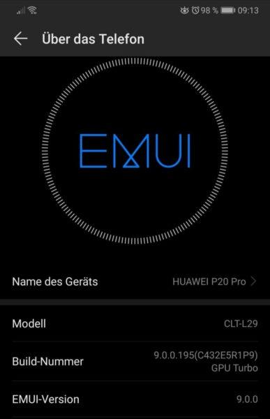 Neue Updates für EMUI 9 für das P20 Pro, Mate RS, Mate 20 X und das Mate 9. 1
