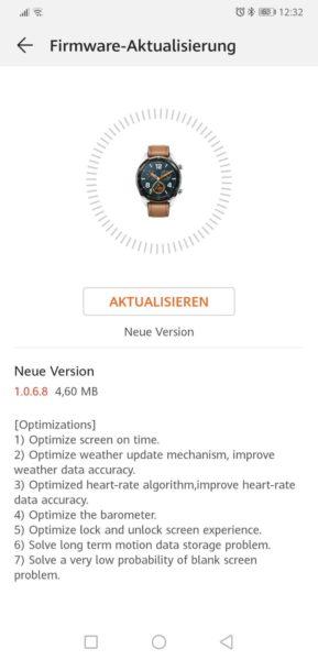 HUAWEI Watch GT erhält Firmware Update 1.0.6.8 1