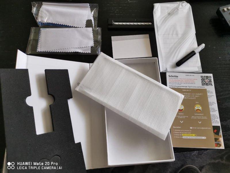 Asbellt Panzerglas für's Mate 20 Pro - Test - Packungsinhalt