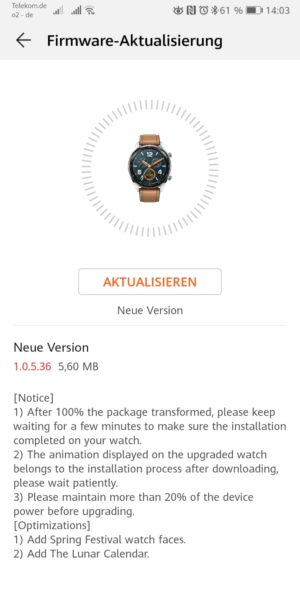 HUAWEI Watch GT Firmware Update 1.0.5.36 (neues animiertes WatchFace) 1