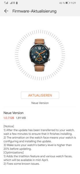 HUAWEI Watch GT erhält neue Funktionen mit Firmware Update 1.07.12B 1
