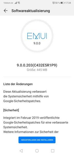 Huawei P20 pro - Firmware Update (Februar - 9.0.0.203) OTA gestartet. 1