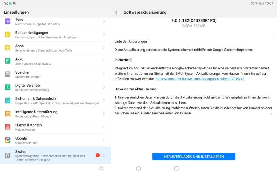 MediaPad M5 WiFi – April-Patch – auch über HiSuite 3