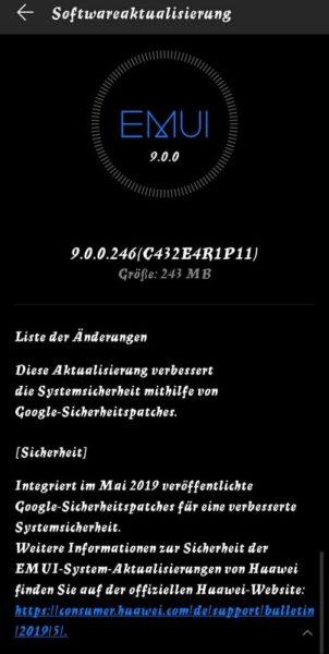 HUAWEI Mate 10 Pro Google Sicherheitspatch Juni 2019