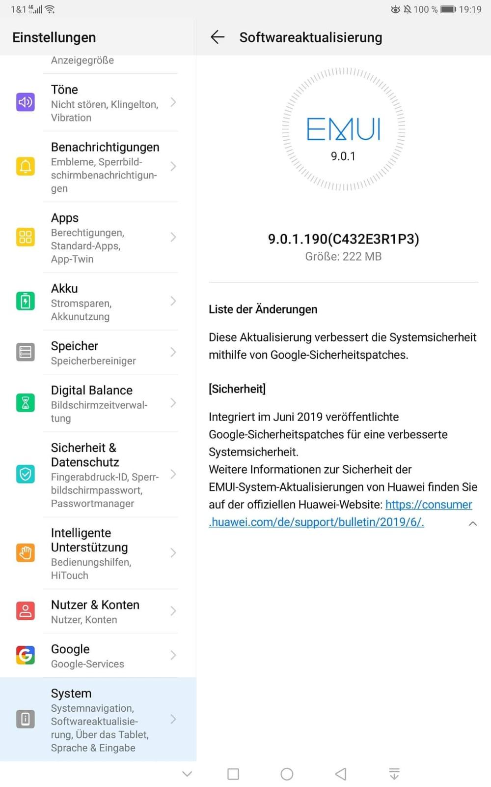 Sicherheitspatches für MediaPad M5 Pro und MediaPad T5 2