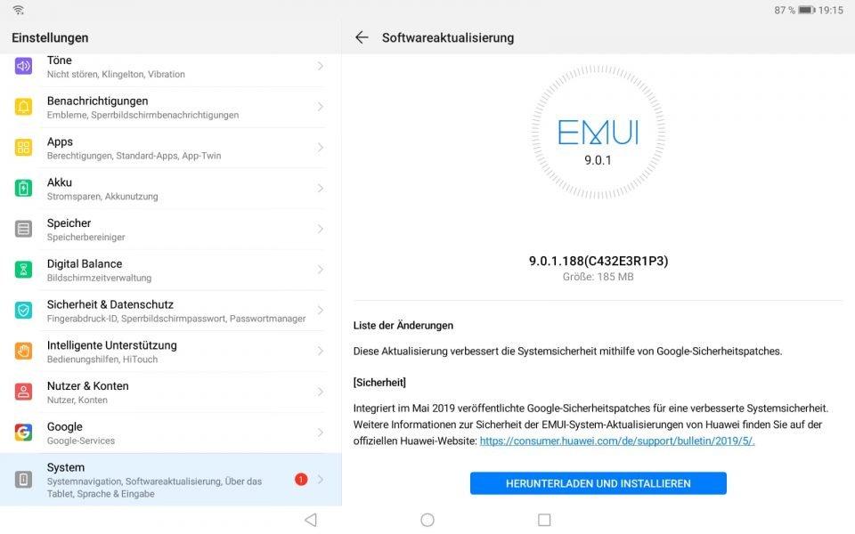 MediaPad M5 10.8 WiFi erhält Mai-Patch 2019 2