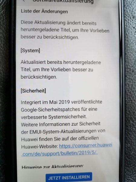 HUAWEI P20 Firmware Update 293 - Verbesserungen 2