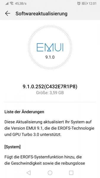 Mate 9 EMUI 9.1 Update