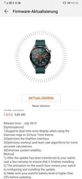 Neue Firmware für die HUAWEI Watch GT 1
