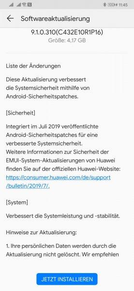 HUAWEI Mate 20 (Pro) bekommt Juli Firmware Update - Full OTA 2