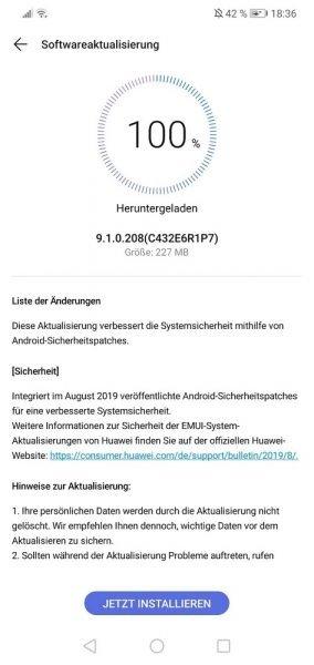 P20 Lite August Sicherheitspatch 9.1.0.208