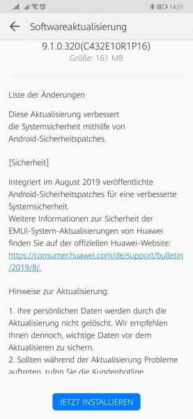 Mate 20 (Pro) erhält Sicherheitspatch August 2019 2