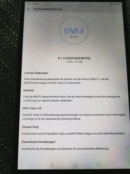 MediaPad M5 10.8 und 8.4 WiFi erhalten EMUI 9.1-Update 2