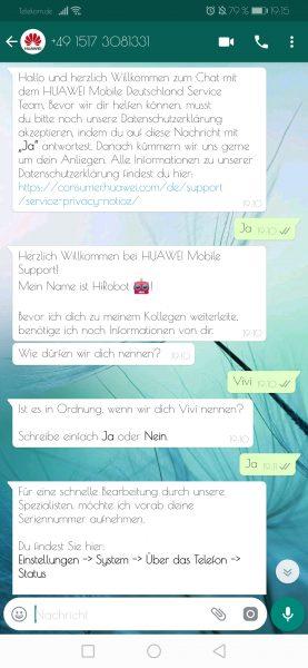 Erster Kontakt mit dem WhatsApp Service