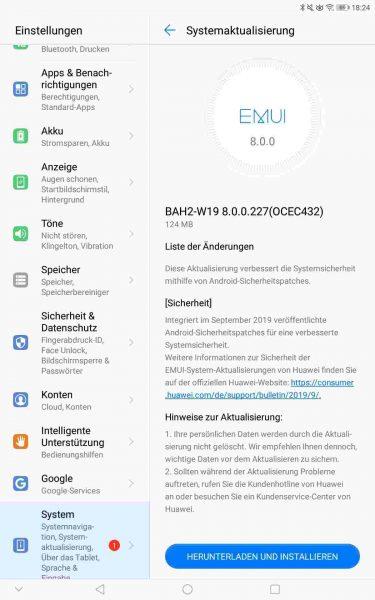 MediaPad M5 lite (LTE & WiFi) und MediaPad T5 (WiFi) erhalten September-Patch 3
