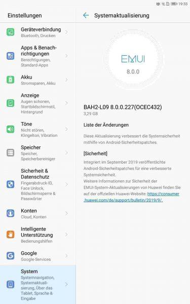 MediaPad M5 lite (LTE & WiFi) und MediaPad T5 (WiFi) erhalten September-Patch 2