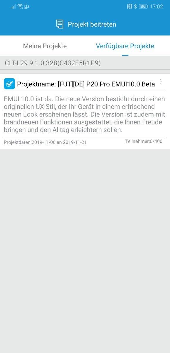 EMUI 10 Beta – Start für das PSmart 2019 – Anmeldung für das P20 Pro 3