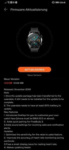 HUAWEI Watch GT 2 Firmware Update Changelog