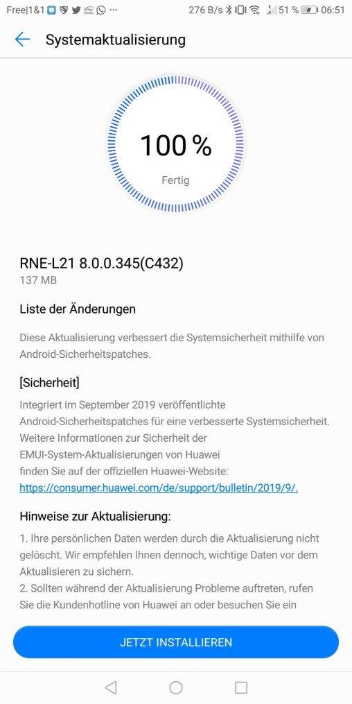 September-Patch 2019 für das P Smart 2018 + 2019 und Mate 10 Lite 3