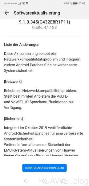 Huawei P20 Pro erhält Oktober- und Fehler-Patch 2