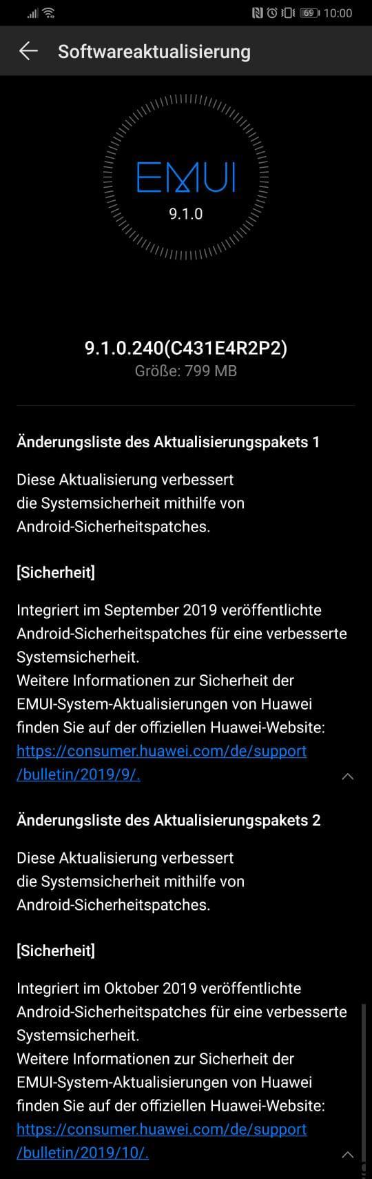 Huawei P30 – September + Oktober-Patch / EMUI 9.1 1