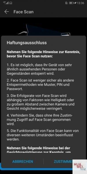 Face-Scan Haftungsausschluss