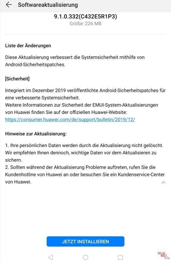 MediaPad T5 WiFi, M5 Lite und M5 8.4 LTE erhalten Dezember-Patch 3