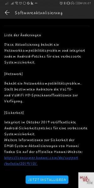 Mate 10 Pro Sicherheitspatch 9.1.0.330
