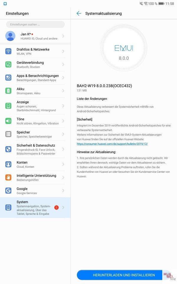 MediaPad T5 WiFi, M5 Lite und M5 8.4 LTE erhalten Dezember-Patch 2