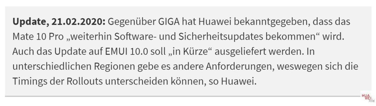 Huawei Mate 10 Pro Updates