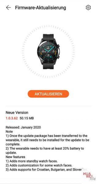 Neue Firmware für die Huawei Watch GT 2 1