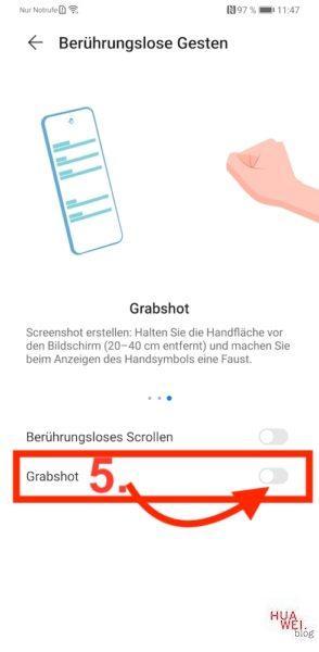 HUAWEI Mate 30 Pro Screenshot erstellen Tutorial Anleitung - Grabshot aktivieren - Schritt 5