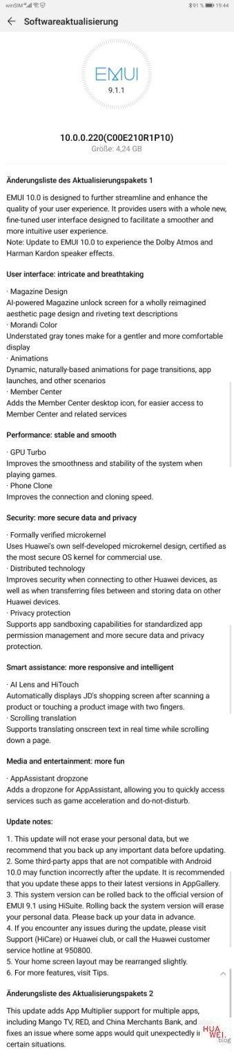 Huawei MediaPad M6 8.4 LTE erhält Android 10 Update 1