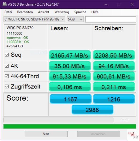 Huawei Matebook D14 Test SSD Benchmark