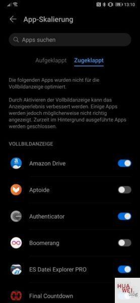 HUAWEI Mate Xs Test Display App Skalierung