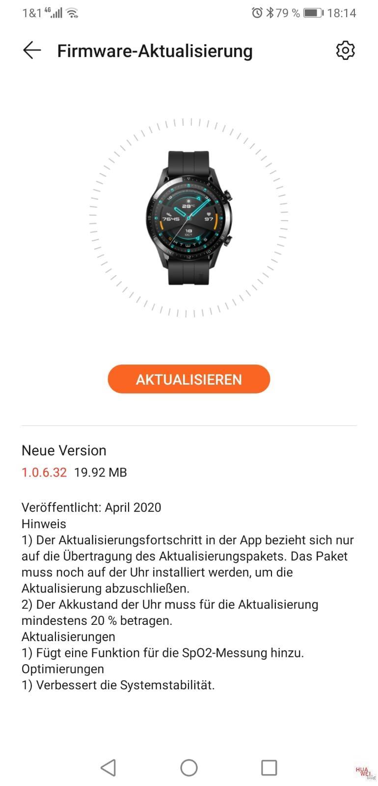 Watch GT2-Firmware April 2020