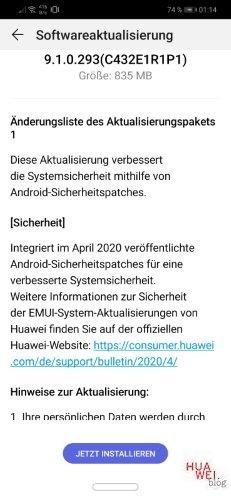 HUAWEI P Smart 9.1.0.293 Changelog