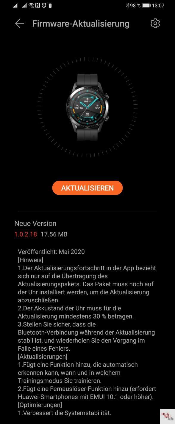 HUAWEI Watch GT und GT2e - Firmware Update bringt neue Funktionen 1