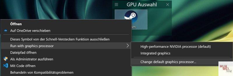 Huawei Matebook X Pro 2020 Test GPU Auswahl