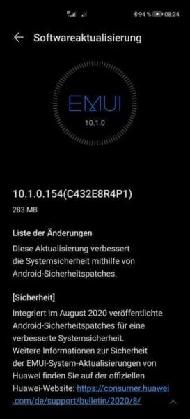 Huawei P40 Pro Firmwareupdate Android Sicherheitspatch August 2020