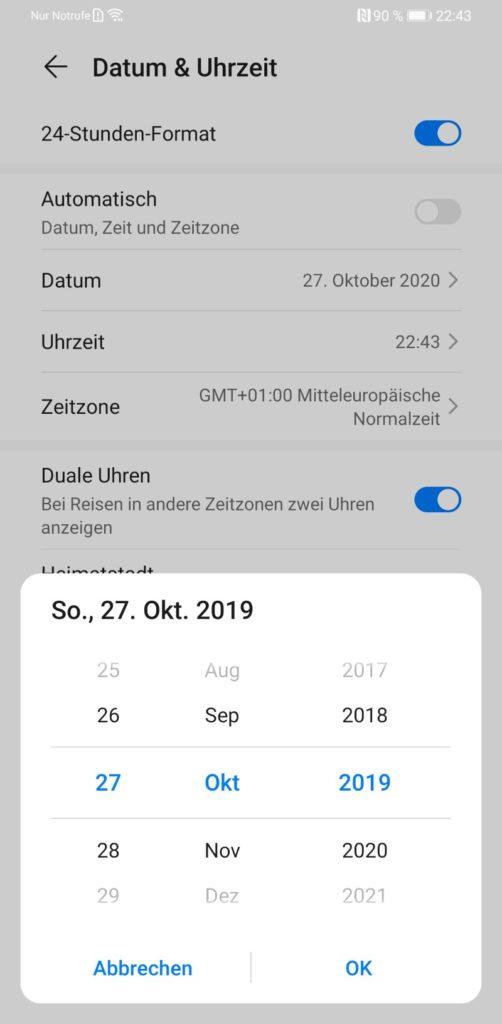 Huawei Einstellungen Uhrzeit und Datum