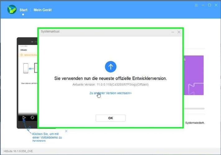 Downgrade HiSuite Bestätigung der Firmware