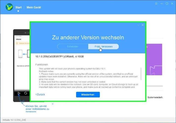 Downgrade HiSuite Downgrade