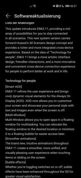 EMUI 11 Funktionen Beta Changelog