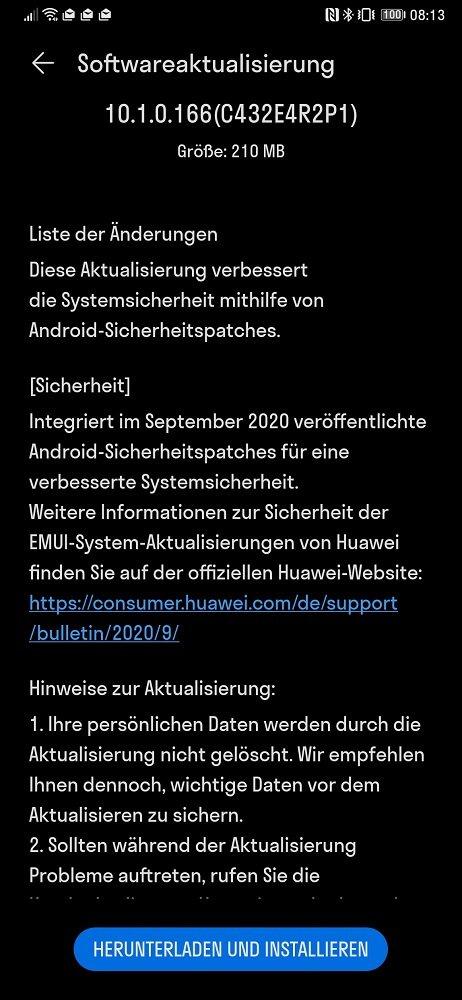 HUAWEI Mate Xs Firmwareupdate 10.1.0.166 Changelog