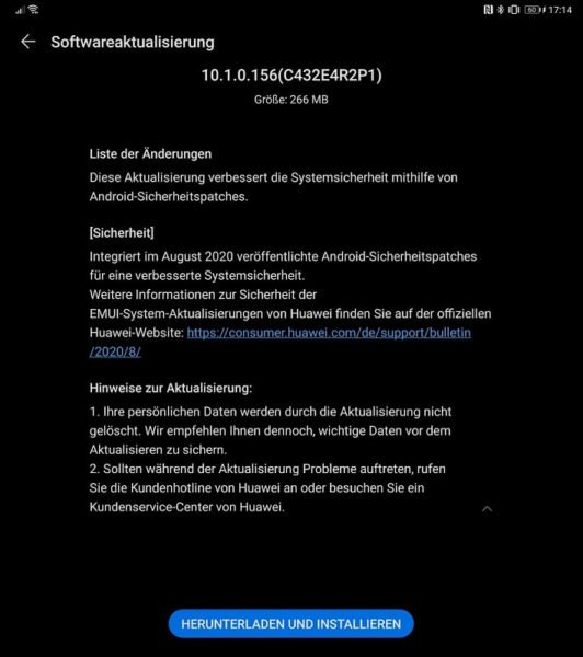 Huawei Mate Xs Firmwareupdate Sicherheitspatch August 2020