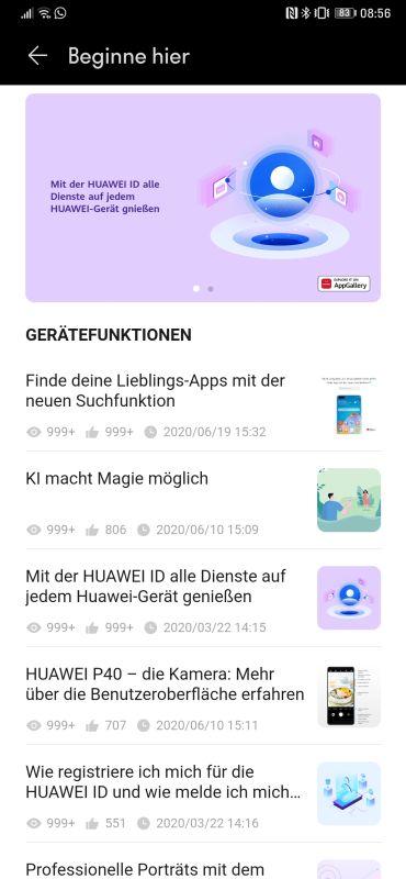 HUAWEI Support App Bedienungsanleitung