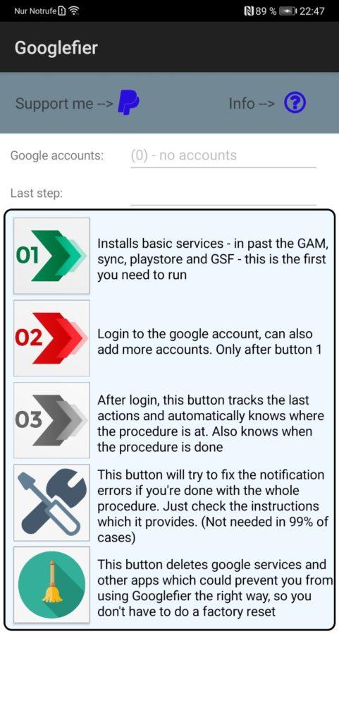 Googlefier App Home Bildschirm Ansicht